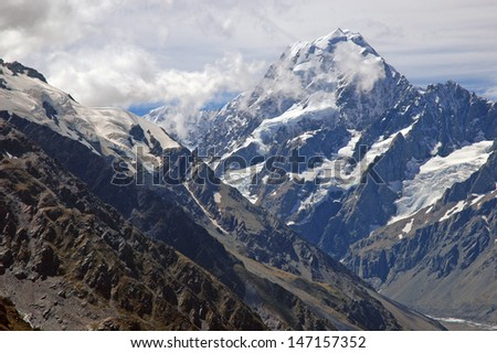 Aoraki//Mount Cook National Park, South Island, New Zealand - stock photo