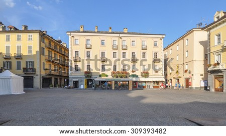 AOSTA, ITALY - AUGUST 06, 2015: Tourists in Piazza Emile Chanoux square