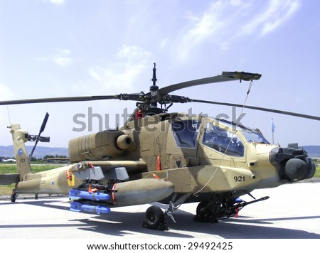 apache gunship helicopter - stock photo