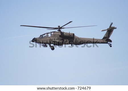 Apache helicopter  in flight - stock photo