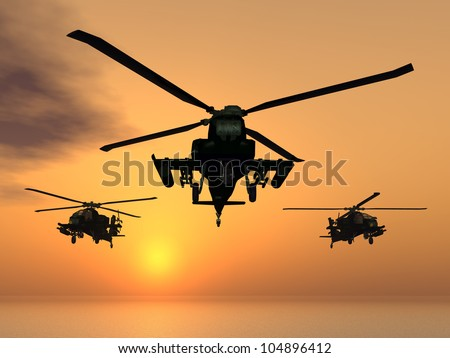 Apache Helicopter with Aircraft Carrier Computer generated 3D illustration