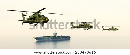 Apache Helicopters and Aircraft Carrier Computer generated 3D illustration - stock photo