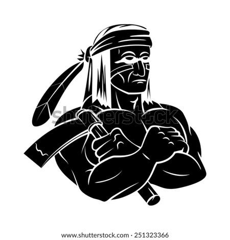 Apache Mascot tattoo - stock photo
