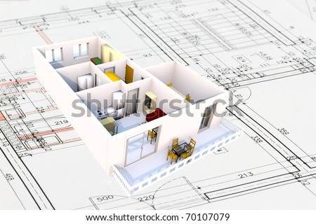Apartment architecture plans with 3D building structure - stock photo
