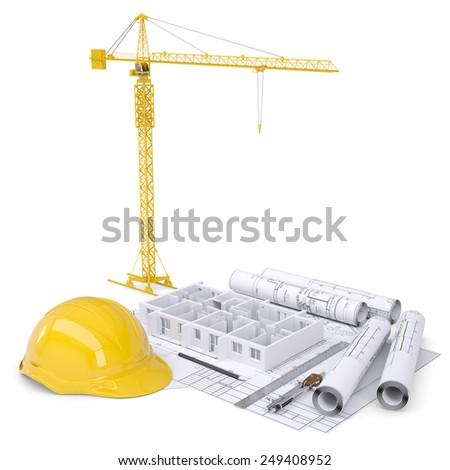 Apartment block under construction, crane, blueprints, drawing instruments, hard hat. On white background - stock photo