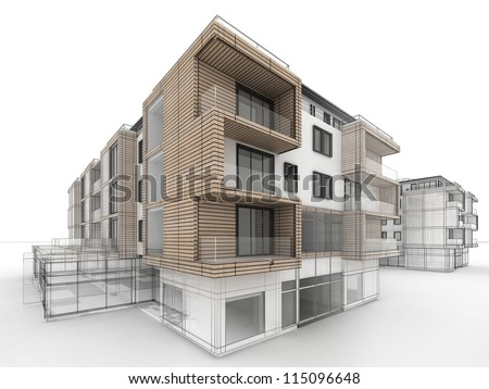 Apartment Building Design Progress Architecture Visualization In Mixed Drawing And Photo Realistic Style