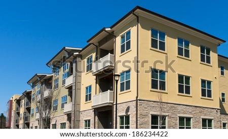 Apartment building facade detail - stock photo