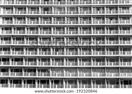 Apartment building facade pattern - stock photo