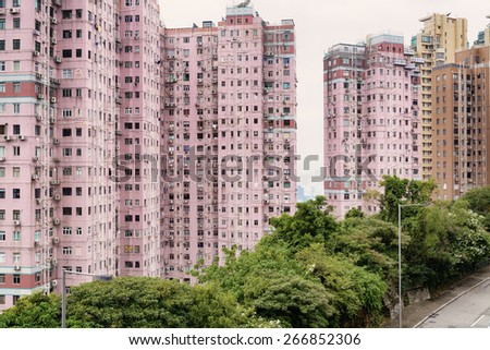 Apartment Building in Hong Kong. - stock photo