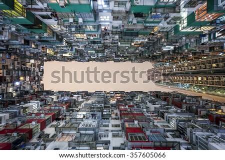 Apartment Building in Hongkong, China - stock photo