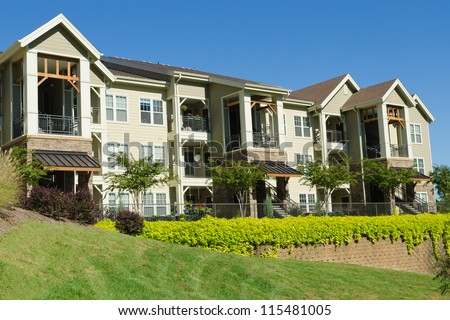 Apartment building in suburban area