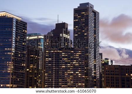 Apartment buildings along Lake Shore Drive - Chicago, IL. - stock photo