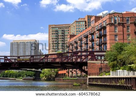 apartment buildings grand avenue bridge river stock photo royalty free 604578062 shutterstock. Black Bedroom Furniture Sets. Home Design Ideas