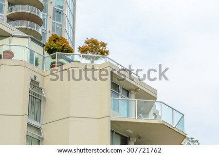 Apartment buildings in Vancouver, Canada. Residential architecture. - stock photo
