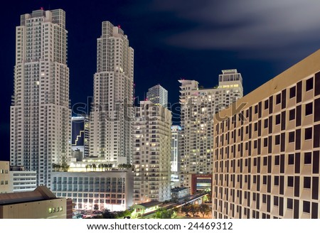 Apartment Complex in Downtown Miami at Night, Florida. - stock photo