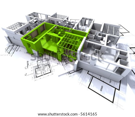 Apartment highlighted in green on a white architecture mockup on top of architect's plans - stock photo