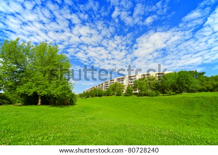 Apartment house  in ecologically clean area - stock photo