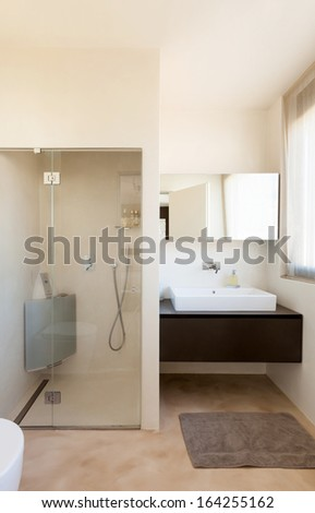 apartment in new building, comfortable bathroom - stock photo
