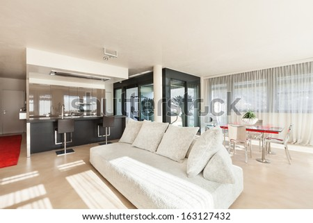 apartment in new building, comfortable living room - stock photo