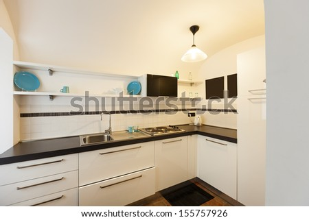 apartment in old building, interior, white kitchen