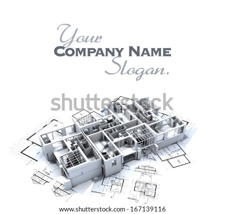 apartment mockup on top of architect's blueprints - stock photo