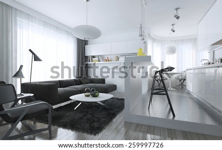 Apartment studio modern style, 3d images - stock photo