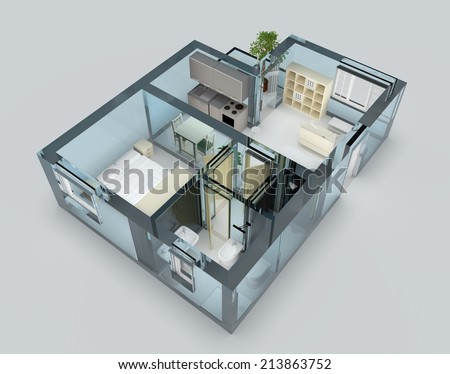 Apartment with blue glass walls and furniture - stock photo