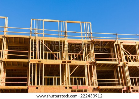 Apartment with multiple units is under construction.  - stock photo