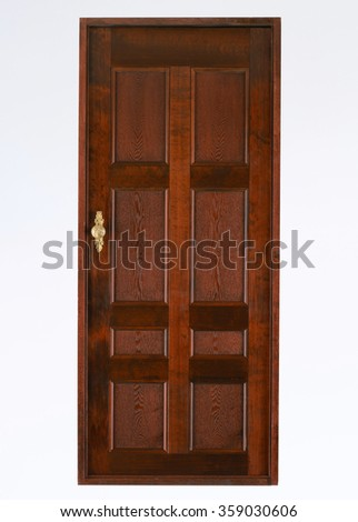 apartment wooden door isolated on white - stock photo