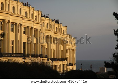 apartments in brighton england. Classic regency architecture row of fashionable grand flats - stock photo