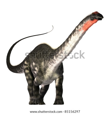 Apatasaurus 01 - The Apatasaurus dinosaur was a herbivore of the Jurassic Era. This giant also called Brontosaurus, browsed the tree tops much as a giraffe does today. - stock photo
