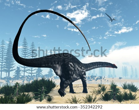 Apatosaurus dinosaur walking in the desert with calamite and onychiopsis plants by day - 3D render - stock photo