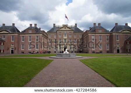 Apeldoorn, Gelderland, The Netherlands -April 28, 2016: Front of Dutch Royal Palace Het Loo, in the city of Apeldoorn. - stock photo