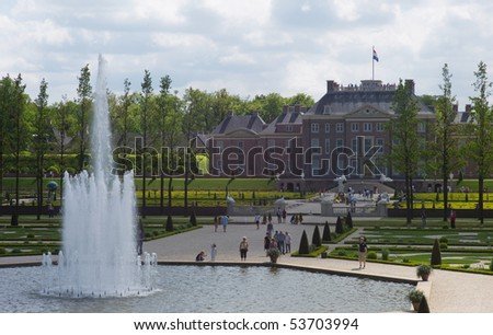 APELDOORN - MAY 23: The Royal Loo Palace as seen from the gardens and the fountains May 23, 2010 in Apeldoorn, the Netherlands - stock photo