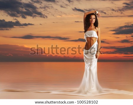 Aphrodite in a light of sunset - stock photo