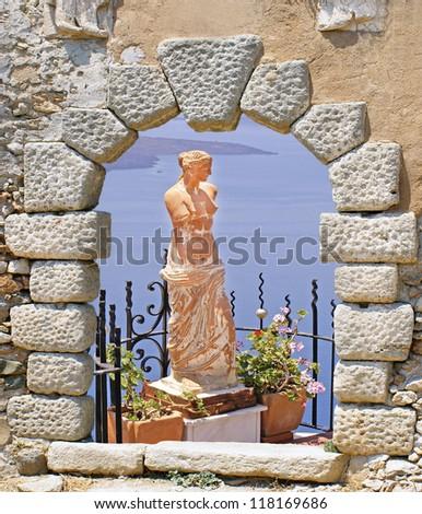 Aphrodite statutue in Santorini island, Greece - stock photo