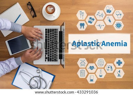 Aplastic Anemia Professional doctor use computer and medical equipment all around, desktop top view, coffee - stock photo