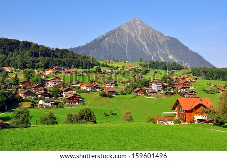 Apline village in Switzerland - stock photo