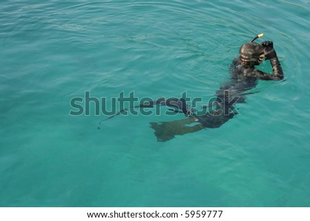 Apnea diver at the surface - stock photo