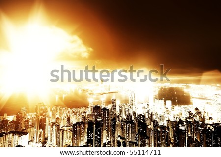 Apocalypse in the city - stock photo