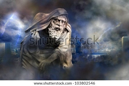apocalypse in the city and angel of death abstract concept - stock photo