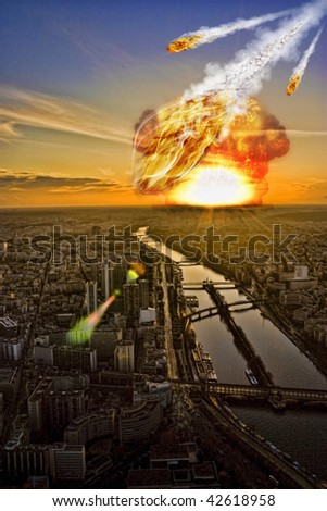 Apocalypse on earth - Asteroid More Apocalypse, planets and space in my portfolio - stock photo