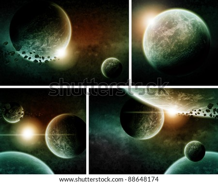 Apocalypse: Pack of 4 planets - stock photo