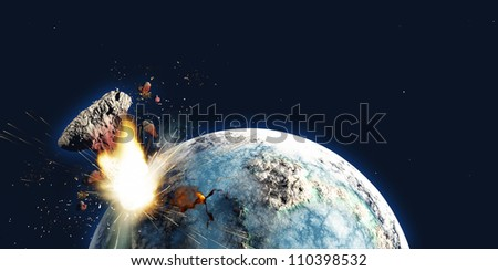 Apocalypse - The Earth explodes from the inside and blows out a portion of the planet in the apocalypse on December 21, 2012. - stock photo
