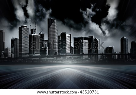 Apocalyptic abstract vision of a futuristic modern city, computer generated illustration and photo montage