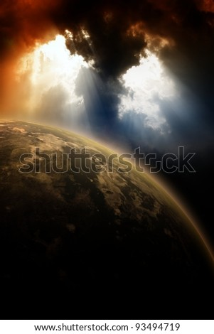 Apocalyptic background - planet in dark sly, light from above - stock photo