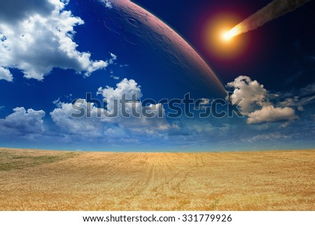 Apocalyptic dramatic background - asteroid impact, end of world, red planet approaching planet Earth.  Elements of this image furnished by NASA nasa.gov - stock photo