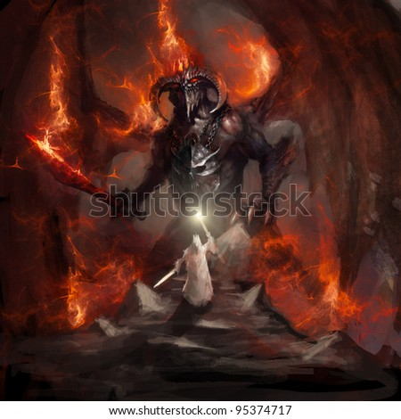 apocalyptic flaming doom bringer of hell - stock photo