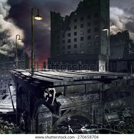 Apocalyptic scenery with ruined city, destroyed bridge and zombies - stock photo