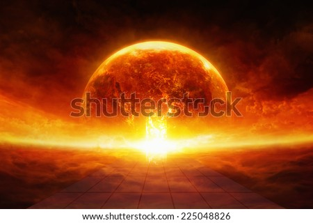 Apocalyptic scientific background - burning and exploding planet Earth in hell, end of world, road to hell. Elements of this image furnished by NASA - stock photo